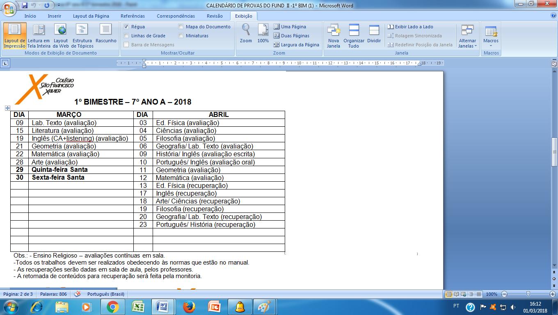 Calendário de provas do 7º ano A