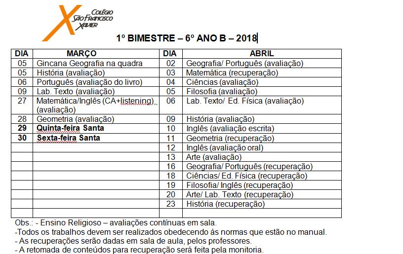 Calendário de provas do 6º ano B